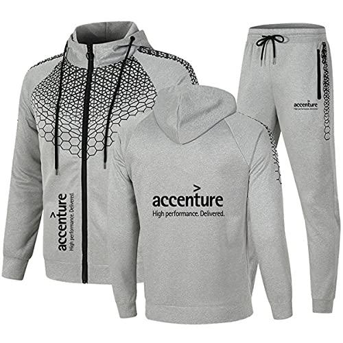 Woakzhe Accen_ture - Chándal para hombre con pantalón y cremallera, chaqueta completa, chándal de manga larga, clásico con capucha, poliéster, color gris, 3XL