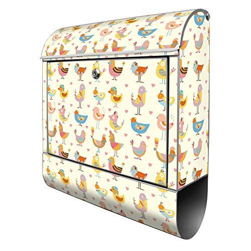Banjado Design Briefkasten mit Motiv Lustige Vögel | Stahl pulverbeschichtet mit Zeitungsrolle | Größe 39x47x14cm, 2 Schlüssel, A4 Einwurf, inkl. Montagematerial