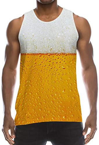 Boys Ugly Hipster Tank Top Sleeveless Shirt Yellow Orange Gray Beer Bubbles Athletic Fitting Muscular Physique Vest Classic Big and Tall Tees Wife-Beater for Adventure Race Outdoor Sports