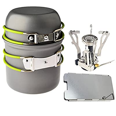 Petforu Camping Stoves, Outdoor Camping Hiking Backpacking Picnic Cookware Cooking Tool Set Pot Pan & Piezo Ignition Canister Stove & Aluminum Portable Foldable Stove Cooker Windscreen