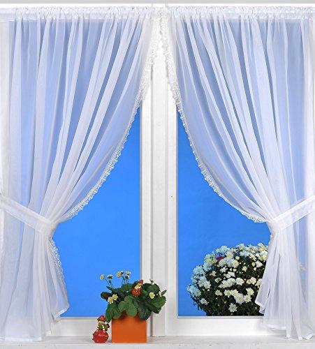 Gardinenset mit Spitze Bistrogardine weiß 4er Set Fenstergardine 2X 140x120 cm und Raffband 2X 50x5 cm