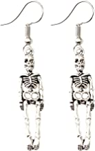 Bone Earrings Dangle Earrings Halloween Earrings Drop Earrings Skull & Bones Silver for girls women Halloween Theme 1 pari