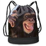 OKIJH Mochila Mochila de Ocio Mochila con cordón Mochila Multifuncional Bolsa de Gimnasio Gymsack Drawstring Bag Sackpack Snout Monkey Sport Cinch Pack Simple Bundle Pocke Backpack For Men Women