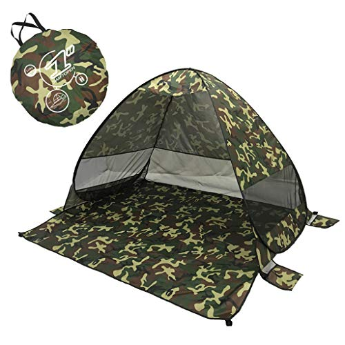 Beach Tent Beach Umbrella Outdoor Sun Shelter Canopy Cabana UPF 50+ Sun Shade Easy Set Up 3-4 Person, Lightweight and Easy to Carry Camping Fishing Hiking Shade Shelter Tent (Army Green, 2.53LB)