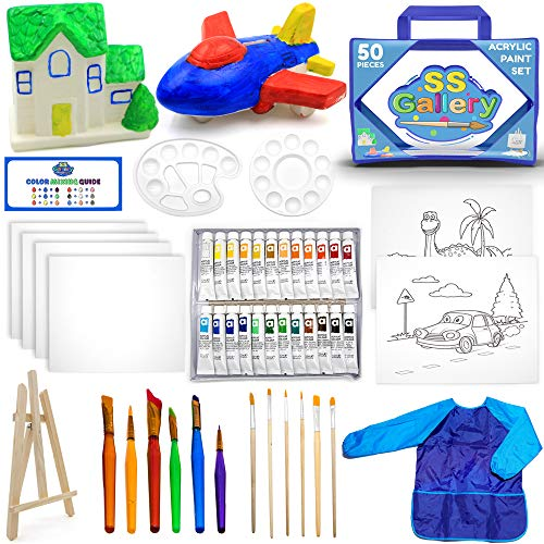 50pcs Acrylic Paint Set - Painting Supplies Kit Includes: Wooden Easel, Tubes of Acrylic Paints, Mixing Pallets, Multiple Canvas Panel Sets, Paintbrushes, Convenient Storage Bag + Coin Banks to Paint.