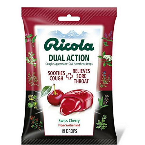 Ricola Dual Action Cough Suppressant Cherry 19 Each (Pack of 7)