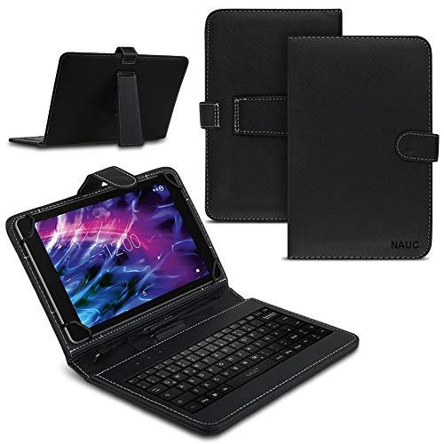 NAUC Für Medion Lifetab P8912 Tablet Tasche USB Tastatur QWERTZ Keyboard Hülle