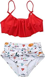Bikinis Mujer 2019, Braga Alta Moda Sexy Traje De Baño 2 Piezas con Volante Superior Y Conjunto De Bikini De Talle Alto Camisola Linda Ropa De Baño para Playa, Verano, Vacaciones