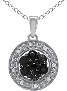 Silver Necklace Round Pendant for Women (I2-I3 Clarity) White Black Treated Diamond Charm Necklace with 18
