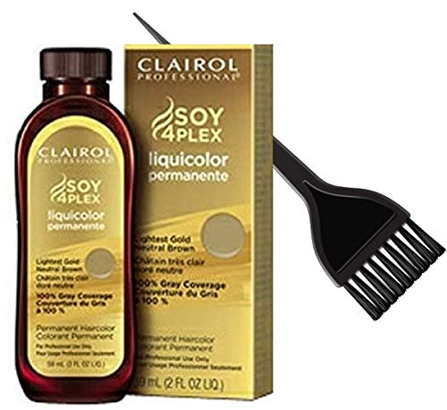 Clairol Soy4Plex LiquiColor PERMANENT Liquid HAIR COLOR Dye (w/Sleek Tint Brush) Gray Busters Permanente Professional Grey Haircolor (4AA / 37D Light Ultra Cool Brown Iced Brown)