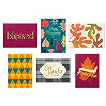 Let friends or family know you're thinking of them with this blank card and Thanksgiving card assortment that celebrates the season of gratitude. Thanksgiving card pack includes 24 cards in six designs (4 of each design), featuring fall icons and col...