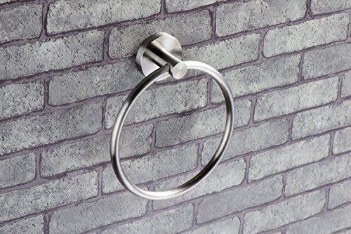 Ambrosya® | Exklusiver Handtuchhalter aus Edelstahl | Bad Badezimmer Halter Halterung Handtuch Handtuchhaken Handtuchhalterung Handtuchring Handtuchständer Ring 2