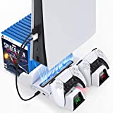 PS5 Stand with Cooling Fan and Dual Controller Charger Station for Playstation 5 PS5 Console, OIVO Upgraded Cooling Fan with Controller Charging Docking Station and 12 Game Slots- 2 IN1 Cable Included