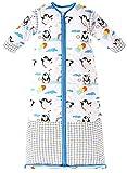 Chilsuessy Saco de dormir para bebé con mangas desmontables, para invierno, 3,5 tog, para niños y niñas de 1 a 10 años, diseño de pingüino, color azul, talla XL, tamaño del cuerpo 130-150 cm