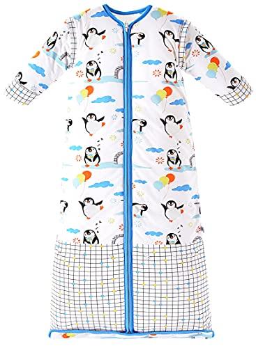 Chilsuessy Winter 3.5 Tog Kinder Schlafsack mit abnehmbaren Ärmeln Bio Babyschlafsack für Jungen und Mädchen von 1 bis 10 Jahre alt, Blau Pinguin, XL/Koerpergroesse 130-150cm