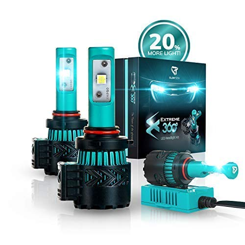 Glowteck 9005/HB3 LED Headlight Bulbs Conversion Kit - Cree XHP50 Chip 12000 Lumens/Pair 68 Watt 6500 Kelvin