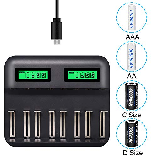 LCD Display Universal Battery Charger,8 Bay Smart Charger for Rechargeable Batteries Ni-MH/Ni-Cd A AA AAA SC C D Batteries with USB Port Type c and Overcharge Prevention Function (No Adapter)