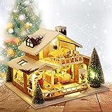 huaqiang194 Navidad DIY Mini Casa De Muñecas, Ensamblado A Mano Ice Snow Manor Building Bricks Toy con Luces LED Snowy Cottage Decoración para Niños Niñas Hand Craft Toys DIY Birthday Prensent