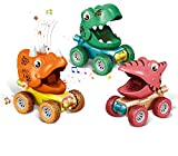 divine man Dinosaur Toys for 2-5 Year Old Boys, Flashing Lights and Dino Roar Music Toys for 3 Year Old Boy, 3pcs Dinosaurs Pull Back Cars, Monster Trucks Birthday Gifts for Kids Age 2,4,5 - Colorful