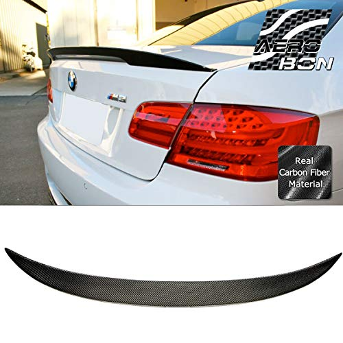 AeroBon Real Carbon Fiber Trunk Spoiler Compatible with 05-13 BMW E92 3-Series Coupe and M3 (Performance Type)