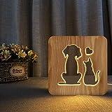 SZG - Lampada da tavolo a LED 3D con gatto e cane adorano la luce notturna per la casa, decorazione creativa