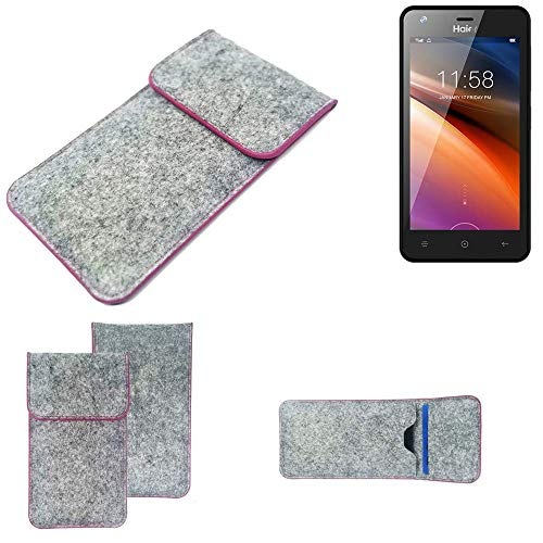 K-S-Trade® Handy Schutz Hülle Für Haier G21 Schutzhülle Handyhülle Filztasche Pouch Tasche Case Sleeve Filzhülle Hellgrau Pinker Rand