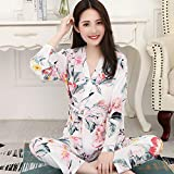 Sexy Dames Pyjama,Comfortabele Sexy Pjs Tweedelige Nachtkleding Zachte Set Vest V-Hals Frisse Kimono Japanse Stijl Bloemenprint Witte Nachtjurk, Thuisservice Pak Cadeau Voor Dame Huwelijksreis