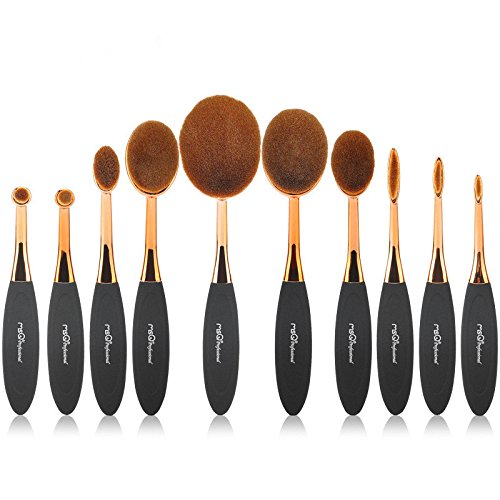 Pinceau Fond de Teint, 10 Pcs Pro Ovale Brosse À Dents Maquillage Brush Set Fondation Contour Poudre Blush Conceler Brosse Maquillage Cosmétique Outil Ensemble Rose Or idéal pour le modelage, l'ombrag