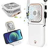 3 in 1 Portable Personal Neck Fan Folding Electric Fan Phone Stand Mini Handheld Small Desk Fan with USB Rechargeable Battery 3000 mAh Power Bank for Travel Office