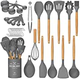 Umite Chef Kitchen Cooking Utensils Set, 24 pcs Non-Stick Silicone Cooking Kitchen Utensils Spatula Set with Holder, Wooden Handle Heat Resistant Silicone Kitchen Gadgets Utensil Set (Gray)