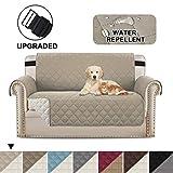 BellaHills Protectores de sofá Impermeables de 2 plazas de Mascotas/Perros Fundas de sofá Fundas de Muebles Antideslizantes Color Reversible (2 plazas, Caqui/Beige)