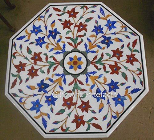 45,7 x 45,7 cm, diseño de mosaico de arte mesa de centro con incrustaciones de mano y aspecto decente