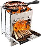 Lixada Wood Burning Camp Stoves Folding Stainless Steel Backpacking Stove Mini BBQ Grill with Carry Bag for Backpacking Hiking Camping Cooking