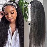 Headband Wig Kinky Straight Human Hair Wigs for Black Women Italian Yaki Headband Wigs Glueless None Lace Front Natural Black 100% Unprocessed Brazilian Virgin Hair 150% Density (14 inch)