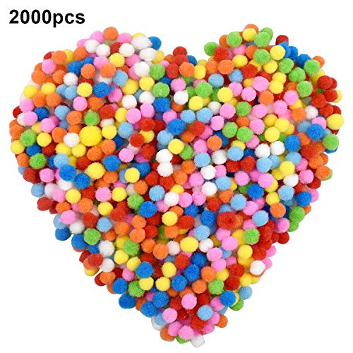 Netspower 2000 Stück 1cm Pompons, Bunte Pompom Craft Pom, Mini Pom Poms Bälle, Bunt Kleine Bommeln Flauschigen Pompons Plüsch Bälle für Handwerk DIY Deko Hobby Supplies