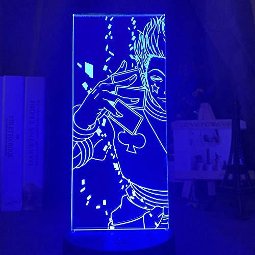 Luz nocturna 3D Acrílico 3D Luz nocturna LED que cambia de color para la decoración del dormitorio de los niños luz de anime Hunter X Hisoka lámpara de regalo ZGLQ