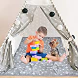 Kids Teepee Play Tent Mat, Square Padded Mat, Anti Slip Baby Activity Mat, 43''x 43'' Kids Play Mat for Boys and Girls, Quilted Mat for Playtent, Teepee Play Mat for Toddlers and Kids Playtime