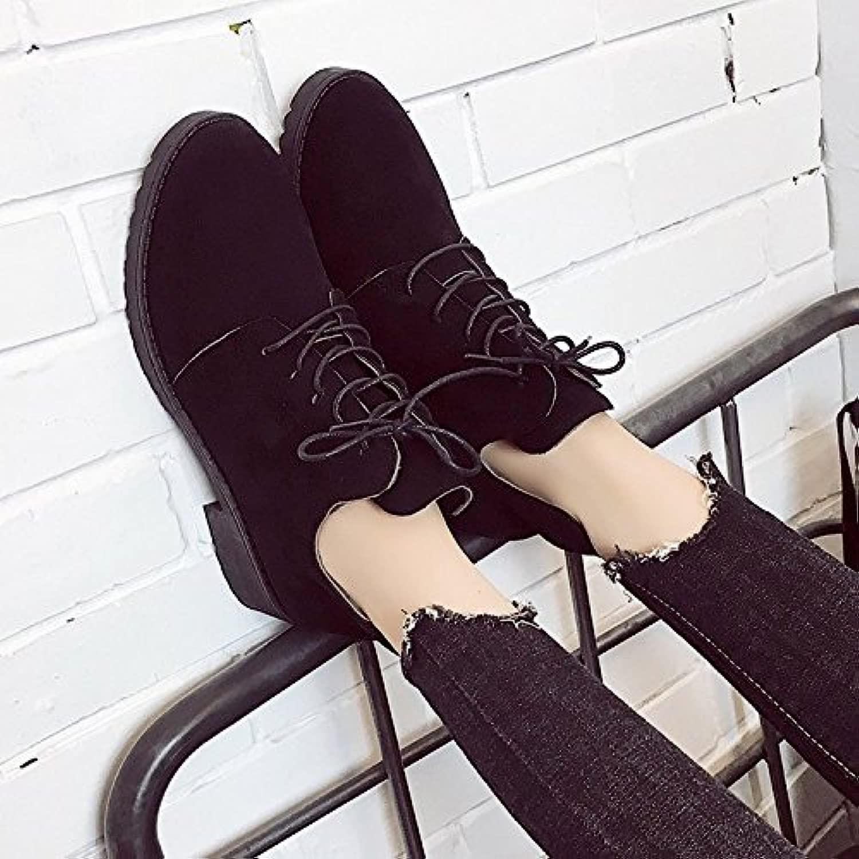 AGECC Damen Damen Winter Martin Stiefel Stiefel mit dicken Schnürsenkeln und nackten flachen Stiefeln Stiefel Schuhe Studentinnen Glück für Sie