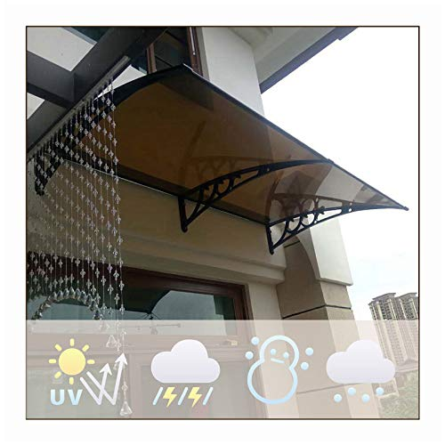 LIANGLIANG Vordach Haustür Überdachung, Braun Lichtübertragung Anti-UV, Starke Tragfähigkeit Wasser Selbstreinigend, Benutzt Für Tür Fenster Fahrradschuppen (Color : Brown, Size : 200x60cm)