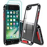 LeYi Funda iPhone SE 2020 / iPhone 8 / iPhone 7 con [2-Unidades] Cristal Vidrio Templado, [Anti-Rasguño] Armor Carcasa Hard PC y Silicona TPU Gel Bumper Antigolpes Protección Case,Negro+Rojo