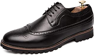 RongAi Chen Oxford Shoes for Men Brogue Shoes Lace Up Style Microfiber Leather Exquisite Engraved Hollow and Breathable (Color : Black, Size : 8 UK)