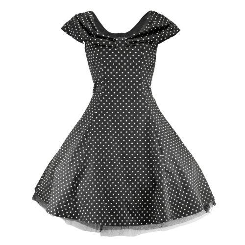 H&R London Sukienka 6847 SMALL DOTS sukienka czarno-biała