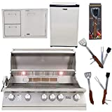Lion Premium Grills 40-Inch Propane Grill L90000 with Lion Door and Drawer Combo with Towel Rack and Lion Refrigerator Package Deal with 5 in 1 BBQ Tool Set