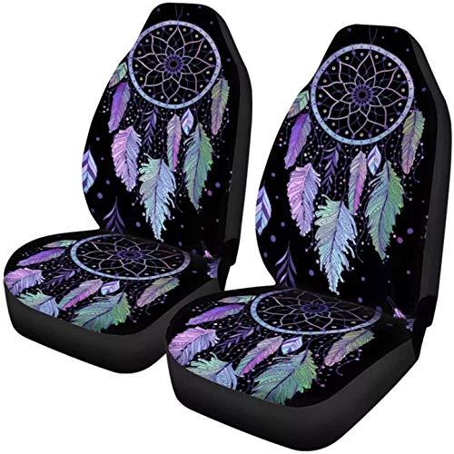 Diseño indio,moderno,atrapasueños,estampado navajo,para asiento de gato,2 piezas,asiento delantero,africano,tribal,étnico,universal,apto para vehículos,sedán,SUV y camiones,interior de automoción