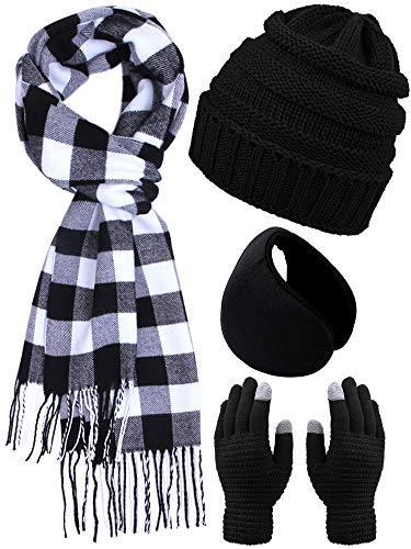 Aneco Warme Stricksets Buffalo Plaid Schal Beanie Mütze Touchscreen Handschuhe und Winter Ohrwärmer Set für Damen oder Herren - mehrfarbig - Medium