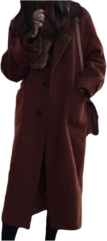 Cobama Women Casual FoldCollar PlusSize Woolen Jacket Trench Pea Coat