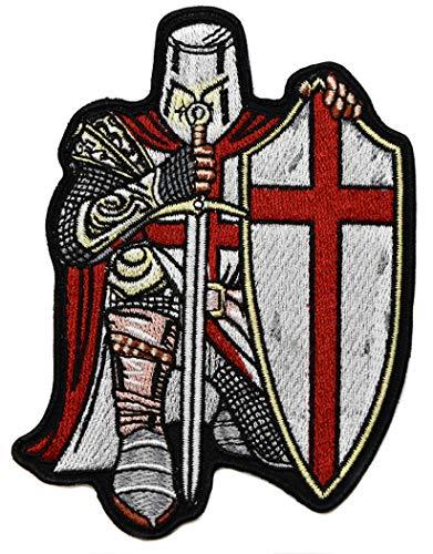 ecusson templier Chevalier Croix Rouge catholique epée Bouclier 10,5x7,5 cm chretien Malte Biker Top Qualite