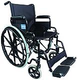 Aidapt VA166BLACK Transport-Rollstuhl aus Stahl zum Selbstantrieb