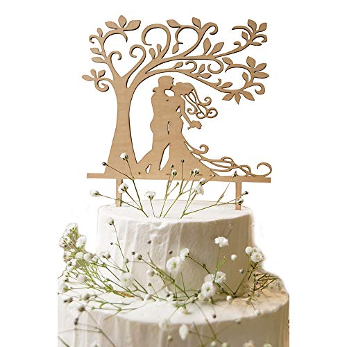 Lumierechat 結婚式 ウェディング ケーキトッパー ウェディングケーキ ケーキ トッパー 飾り 木製 Mr&Mrs デコレーション a-7416 (B-Tree)