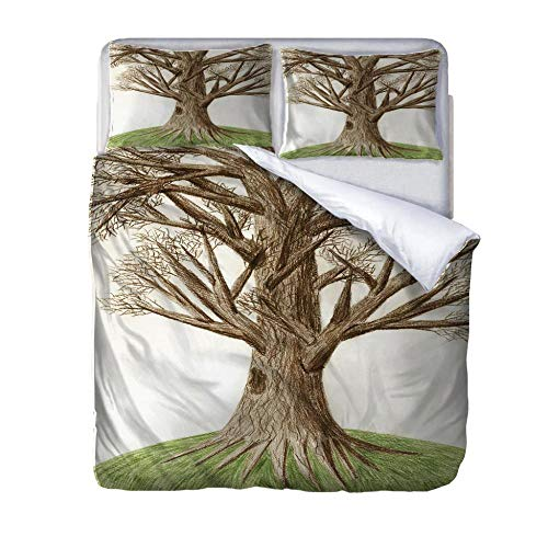 HLLIZ Single Duvet Cover Set, Withered tree Printed Quilt Bedding Set 2Pcs With Zipper Closure In Polyester, 1 Quilt Cover With 1 Pillowcases,140 cm W X 200 cm H